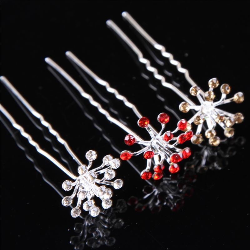 Wedding Hair Pins Crystal Clips Bridal Snowflake Hair Accessories Pinzas Pelo Pince Cheveux Hair Jewelry 120pc/lot WIGO0649