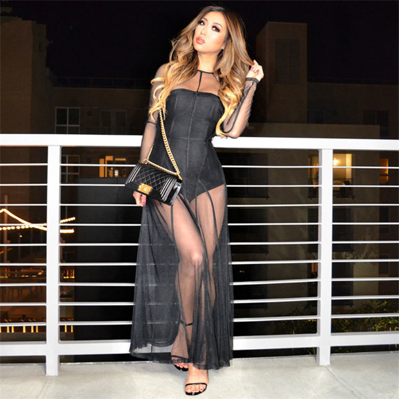 Party Nightclub Queen 2016 Sexy Women New Design Hollow Out Rayon Sheath Bodycon Black Mesh Long Evening Maxi DressesОдежда и ак�е��уары<br><br><br>Aliexpress