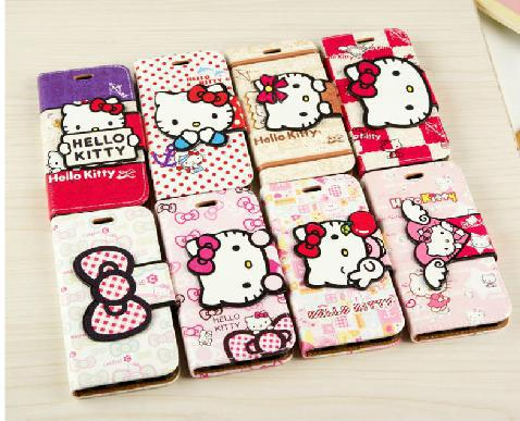 """Cute Cartoon Hello Kitty Case For iPhone 6 6 plus 5.5"""" Pu Leather Wallet Flip Pouch Mobile Phone Shell Cover Free shipping(China (Mainland))"""