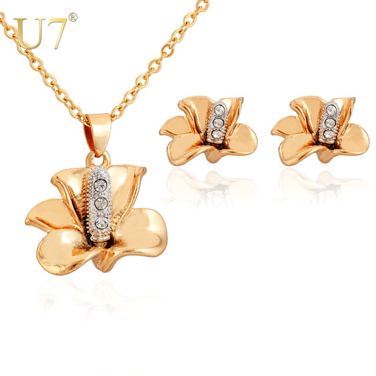 New 2013 Flower Necklace Earrings Set Fashion 18K Real Gold & Platinum Mix Plated Rhinestone Crystal Women's Jewelry Set 7V S356