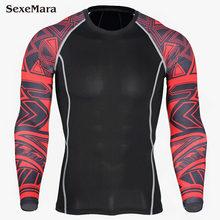 2018 chemises de Compression pour hommes 3D maillots pour adolescents vêtements de course à manches longues Fitness hommes Crossfit T-Shirts collants marque vêtements(China)