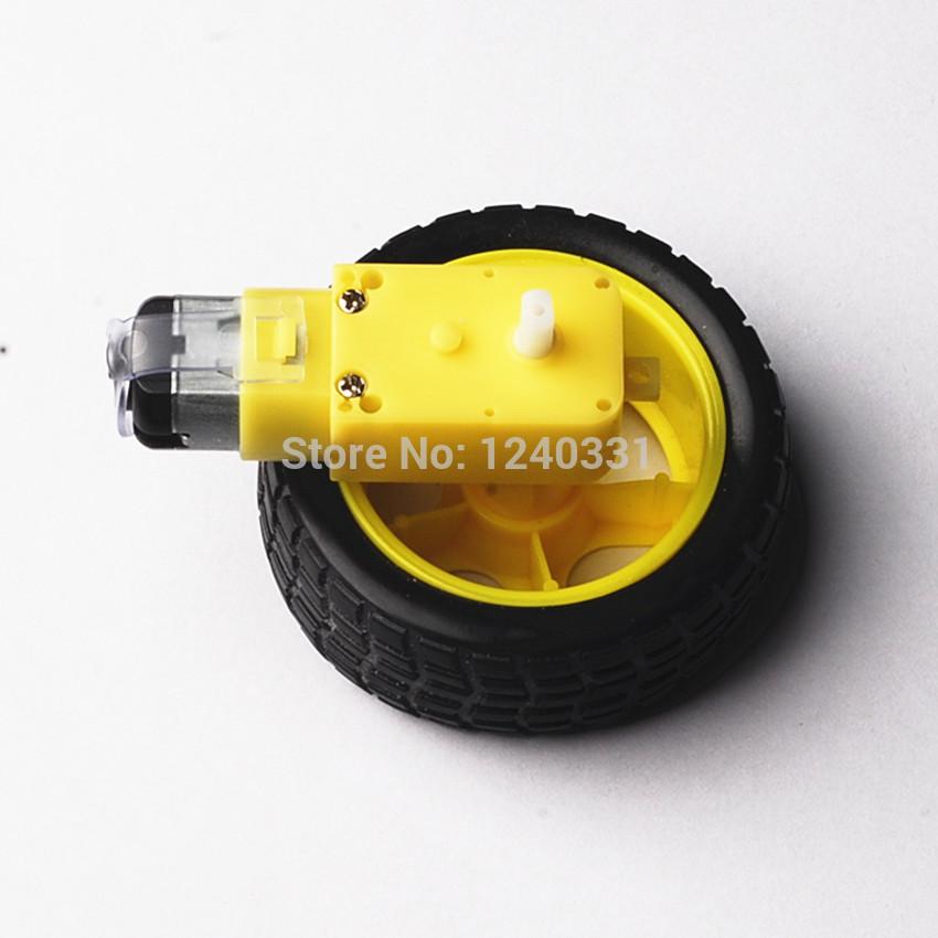 Wholesale 10pcs/lot Smart Car Robot Plastic DC 3V-6V Drive Gear Motor +tyre+for Tire Wheel +free shipping(China (Mainland))