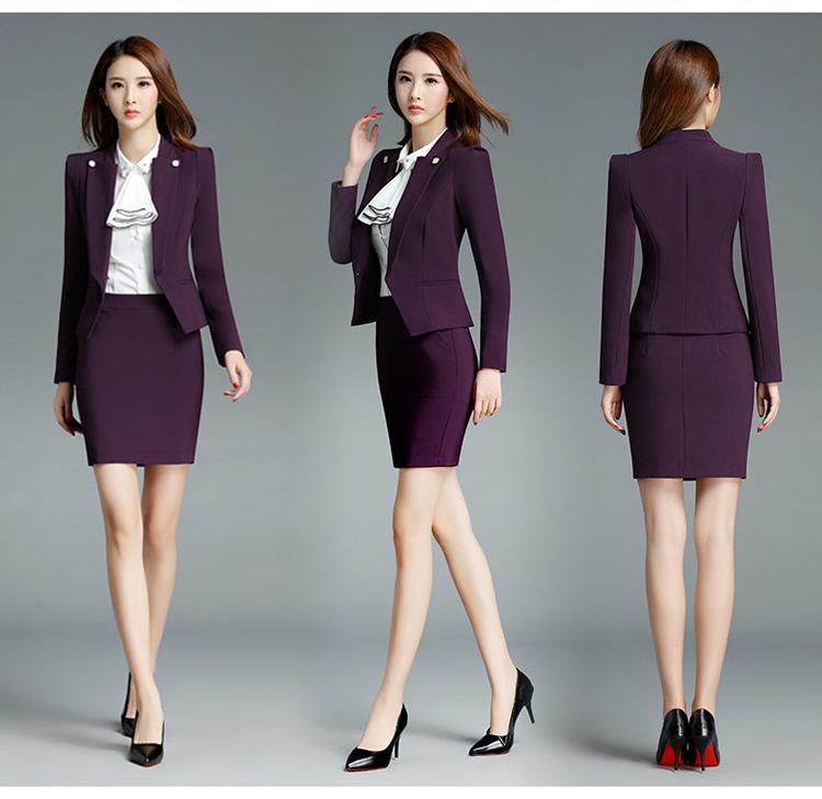 Plus size 3xl two piece set pink office uniform for Office uniform design catalogue