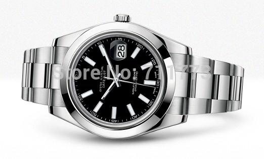 Здесь можно купить  New mens Luxury watches Auto mechanical Black dial Stainless Steel wristwatches datejust 116300 diameter 41mm  Ювелирные изделия и часы