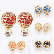 DH Stud Earrings Double Side Earrings Crystal Stud Hollow Bright Pearl Earrings Glass Shining Earrings For Woman E1543-E1546(China (Mainland))