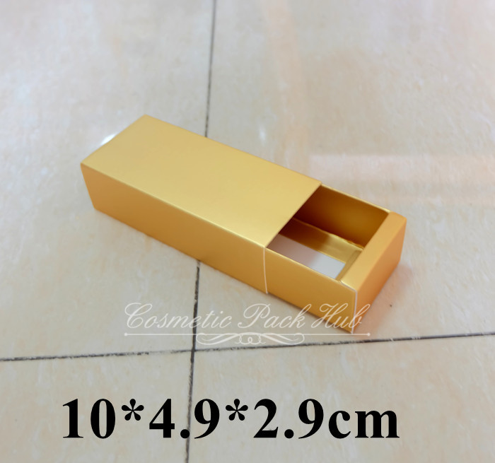 Retail Gold Paper Drawer Boxes Cosmetic Perfume Box Essence Oil Bottle Paper Packaging Boxes 10*4.9*2.9cm Free Shipping(China (Mainland))