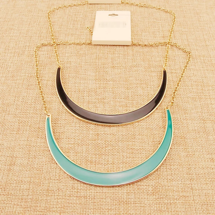 Summer Style Fashion Jewelry High Quality Shiny 14 K Gold Plated Contracted The Moon Short Circle Metal Necklace For Women(China (Mainland))