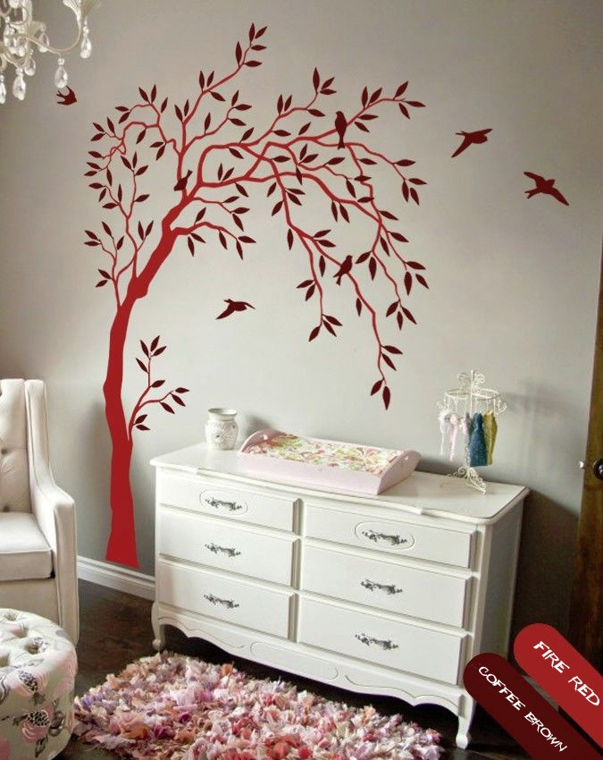 2016 NEW Nursery wall decal with leaves and birds sticker tree kids room decals DIY Removable wallpaper size 58.3*84.6inches(China (Mainland))