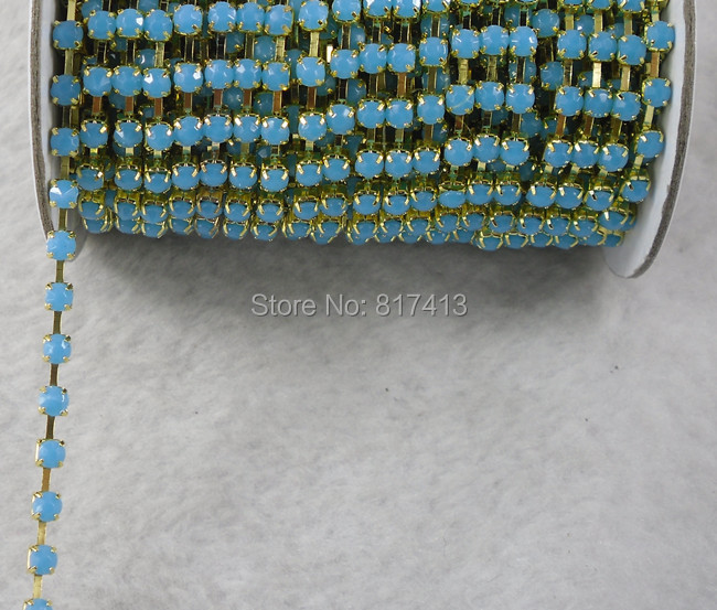 Fashion decals SS16 light blue acrylic 4 mm gold chain trim 10 Yards free shipping(China (Mainland))