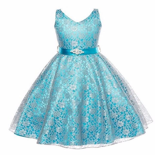 Summer sleeveless a line lace bodycon princess dress girls clothing