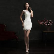 Sexy Lace Appliques Slim Wedding Dresses Short Bridal Dress Knee Length Vestidos De Noiva(China (Mainland))