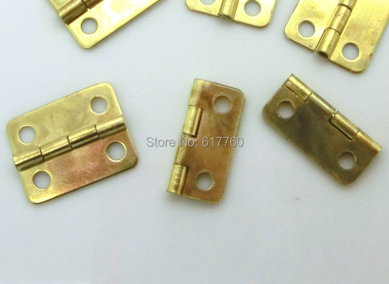 Free Shipping-50pcs Gold Plated 4 Holes Box Butt Hinges 16x13mm D0023(China (Mainland))