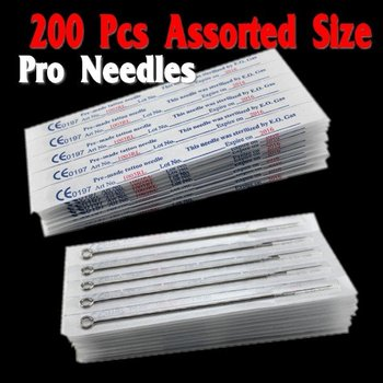 Wholesale - 200pcs/Lot Disposable Sterile Tattoo Needles Assorted Mixed Size Shader Liner Free Shipping TN200  free shipping