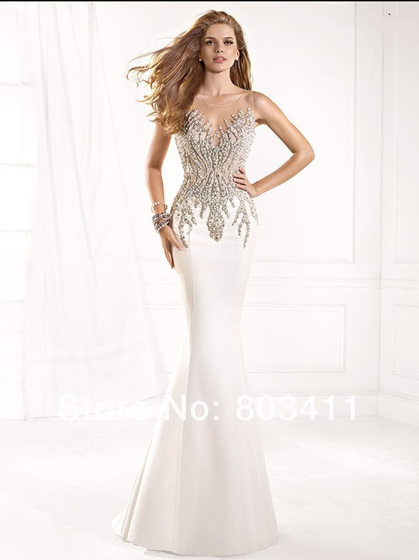 Free Shipping Illusion Sweetheart Jewel Beaded See Through Back Mermaid Evening Dresses(China (Mainland))