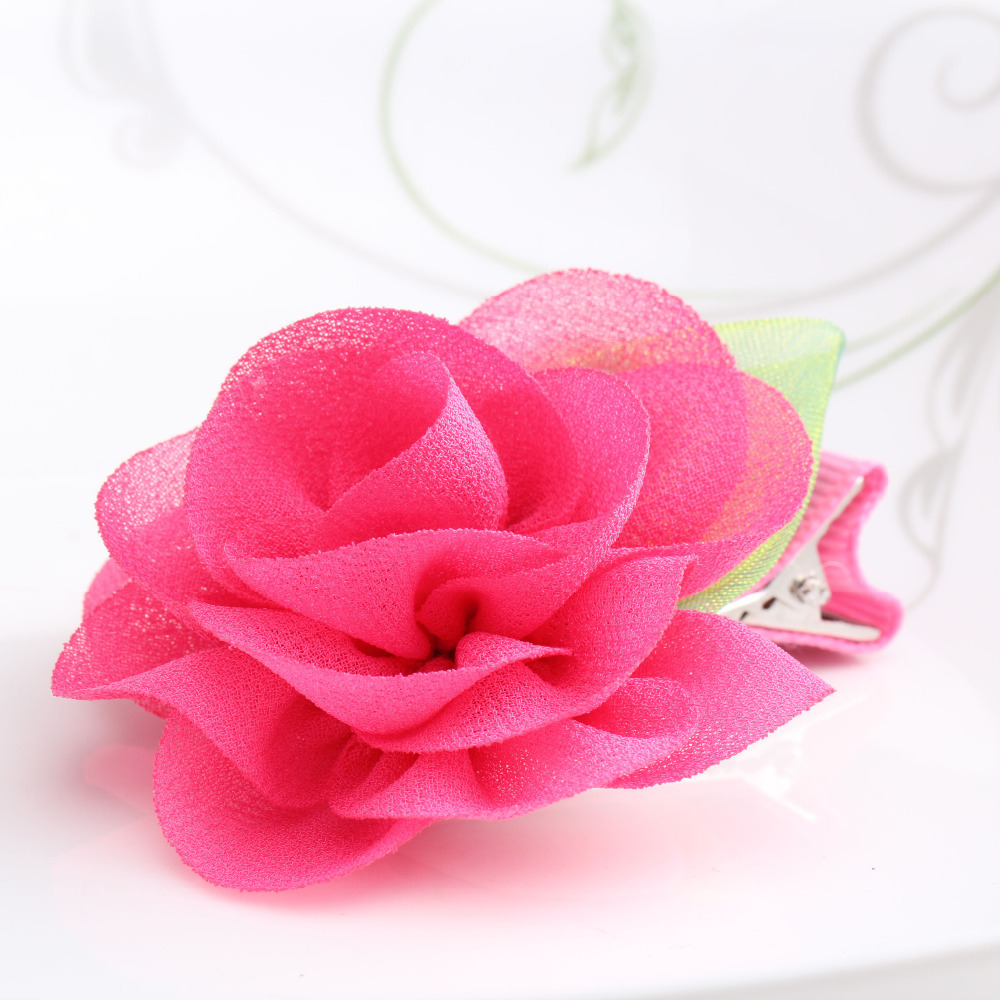 New Beauty Chiffon Flower Hairpins Children Hair Accessories Gilrs Hair Barrettes Children Accessories Baby Hair Clip(China (Mainland))