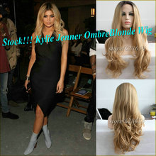 Natural Bombshell Blonde Ombre Synthetic Curly Lace Front Wig Kylie Jenner Long Blonde Lace Front Heat Resistant Wig 180%Density(China (Mainland))