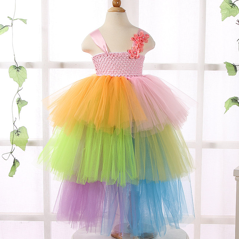 New Design Formal Kids Baby Girl Rainbow Tutu Dress Bridesmaid Flower Girl Dresses Princess Pageant Prom Wedding Party Dresses(China (Mainland))