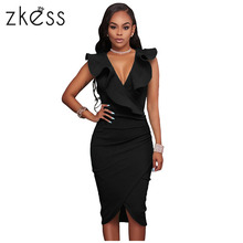 Buy Zkess 2017 Ruffle V Neck Summer Dresses Casual Sexy Knee Length Bodycon Elegant Dress Sleeveless Women Vestidos hot sale LC61474 for $15.01 in AliExpress store