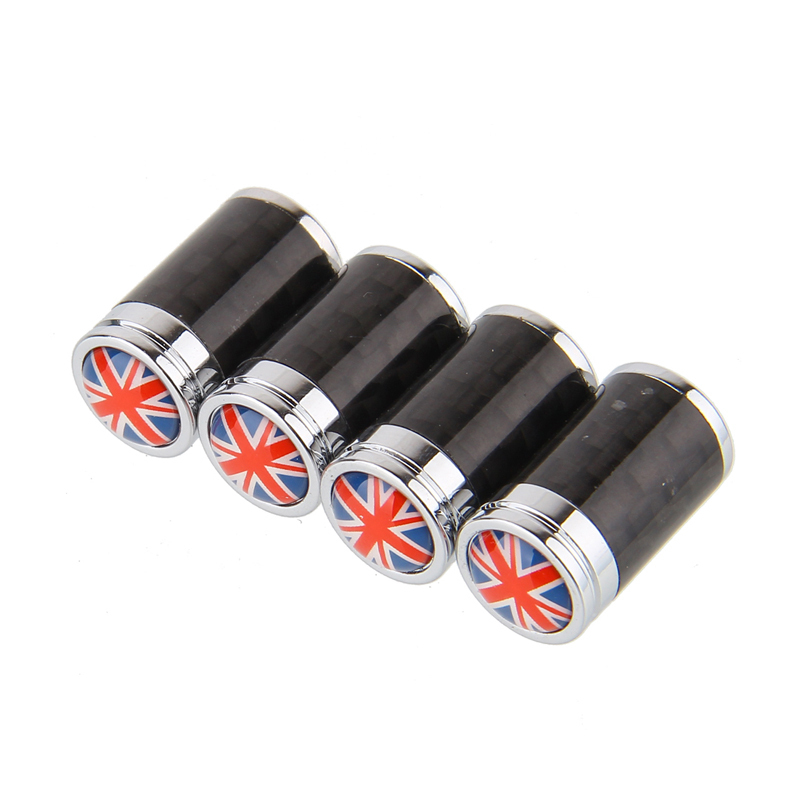 Universal Fit Stylish Carbon Fiber Tyre Valve Caps Replacement New Car tire valve caps for UK Flag(China (Mainland))