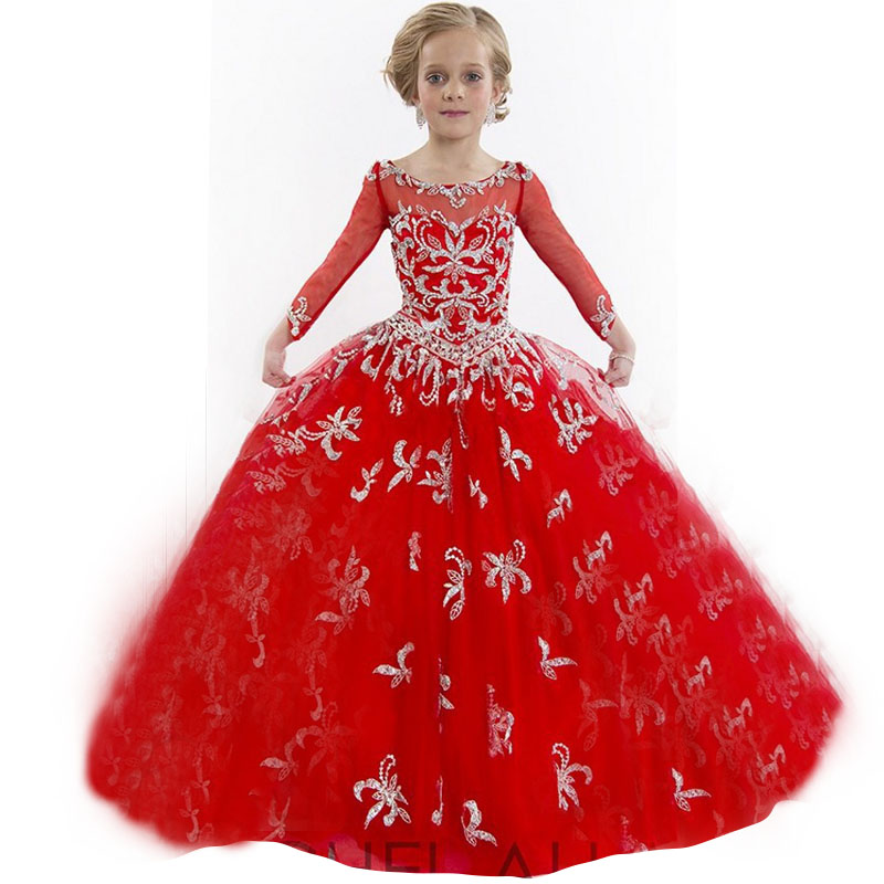 Cute Long Sleeves Communion Dresses Red Organza Lace Ball Gown Flower Girl Weddings Vestidos - Lovestory Dress Store store