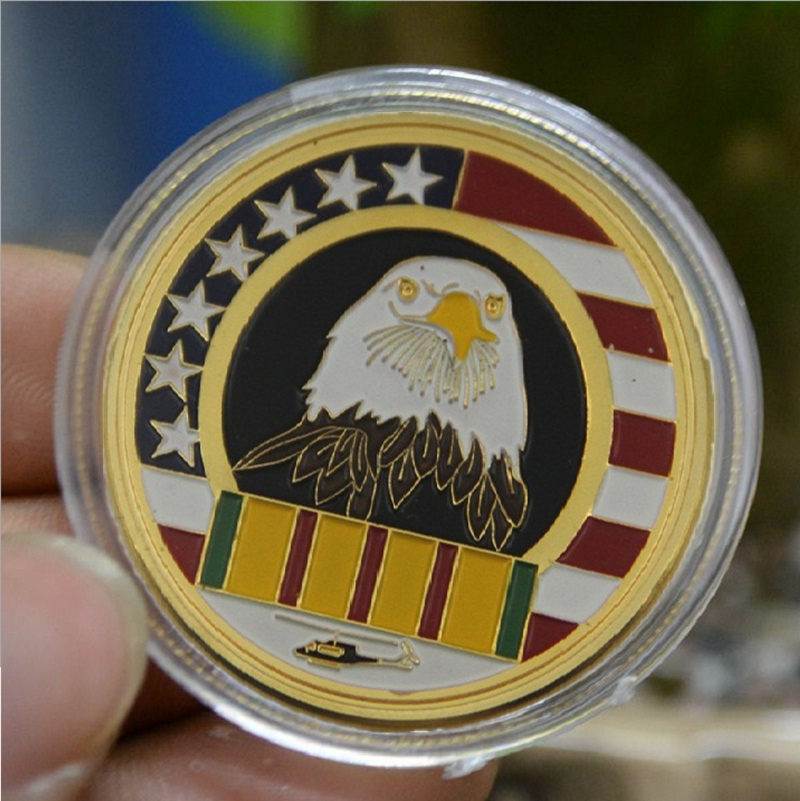 American Eagle 24K Gold Coin Antique WWI&WWII War Anniversary Souvenir Metal Coin Welcome Home Brother USA Soldier Coin(China (Mainland))