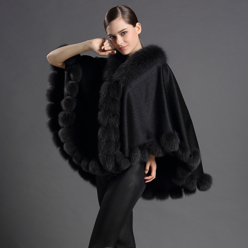 2 colors Fashion Fur Scarves&Shawl Ponchos&Cape-style Shawls Cashmere Cachecol With Fox Fur Ball Warm Women Big Size Pashmina(China (Mainland))