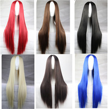 new 30 in / 75 CM 6 Colors cheap wigs long straight hair synthetic wigs Anime cosplay wig Carve Red / Black / Brown / blue wig