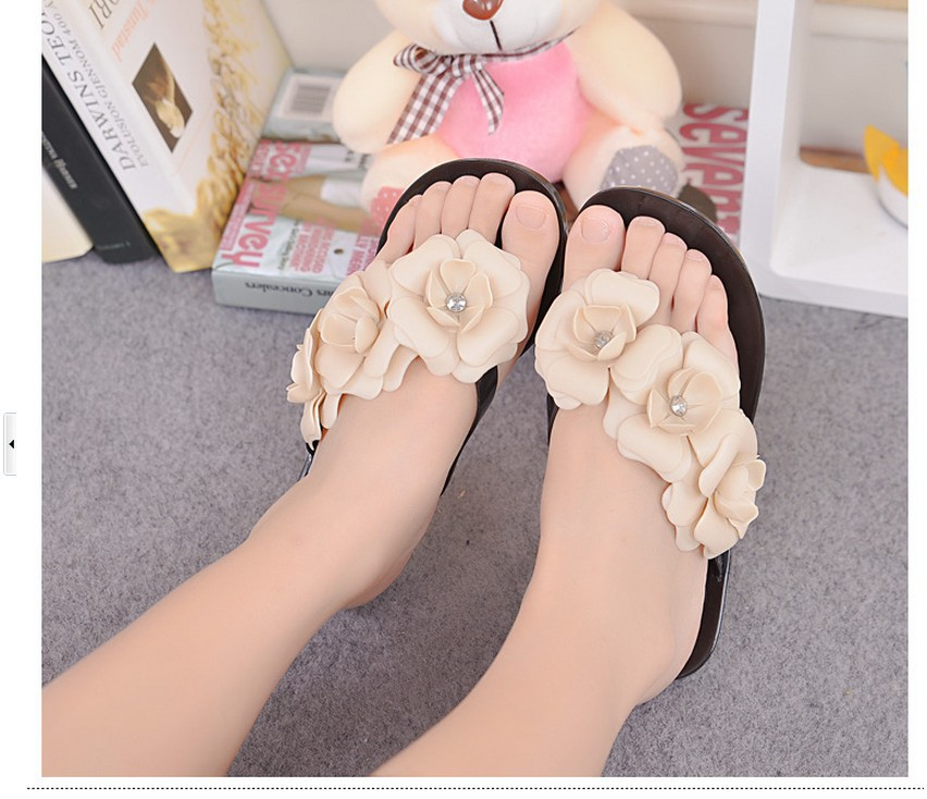 New Fashion Summer 2016 Hot sale Women Sandals With Beautiful Camellia Flower Sweet casual flats<br><br>Aliexpress