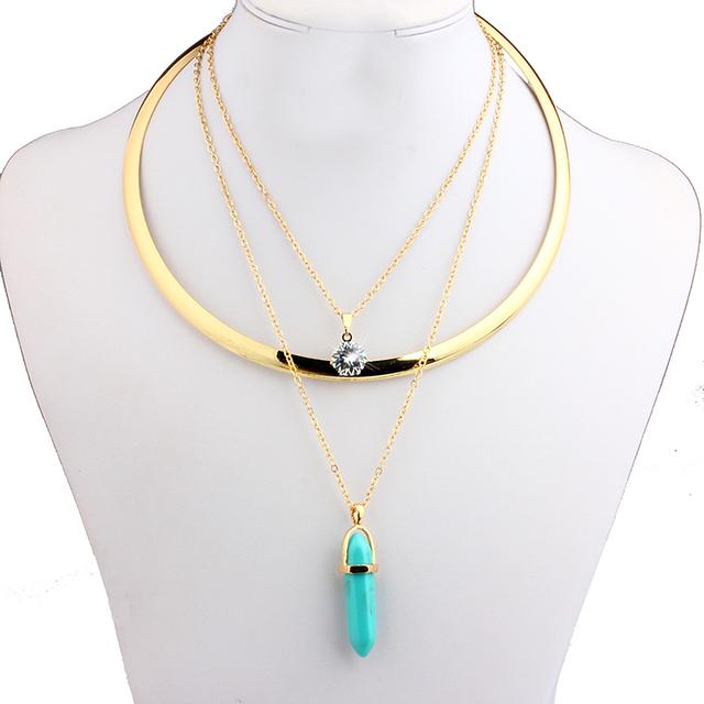 Vivilady мода цепи воротник кристалл ожерелье женщины смола бирюзовый ювелирные изделия ...