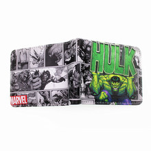 Comic marvel hulk verde brinquedo de presente titular do cartão bolsa carteira spiderman batman deadpool adolescente com cion zipper(China)