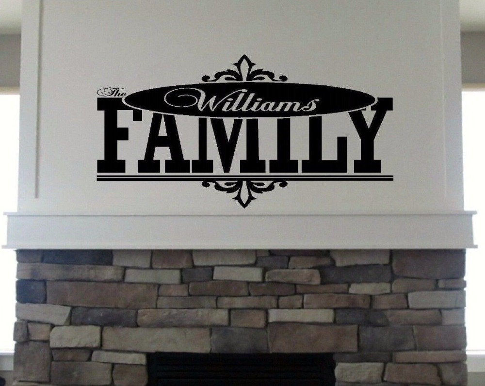 Personalized Custom Family Name Wall Decal vinyl lettering quote(China (Mainland))