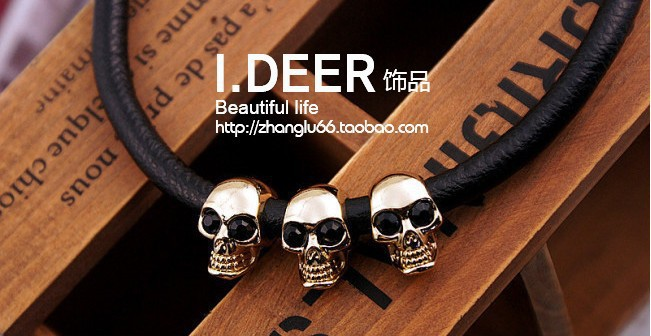 Han edition new trends Europe fan set auger skull necklace leather cord couple short chains men women - The customers store
