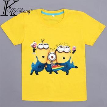 2016 мультфильм желтый миньон майка детей 4 - 12 лет boy одежды thirt мальчики и девочки с коротким рукавом гадкий я футболка вершины
