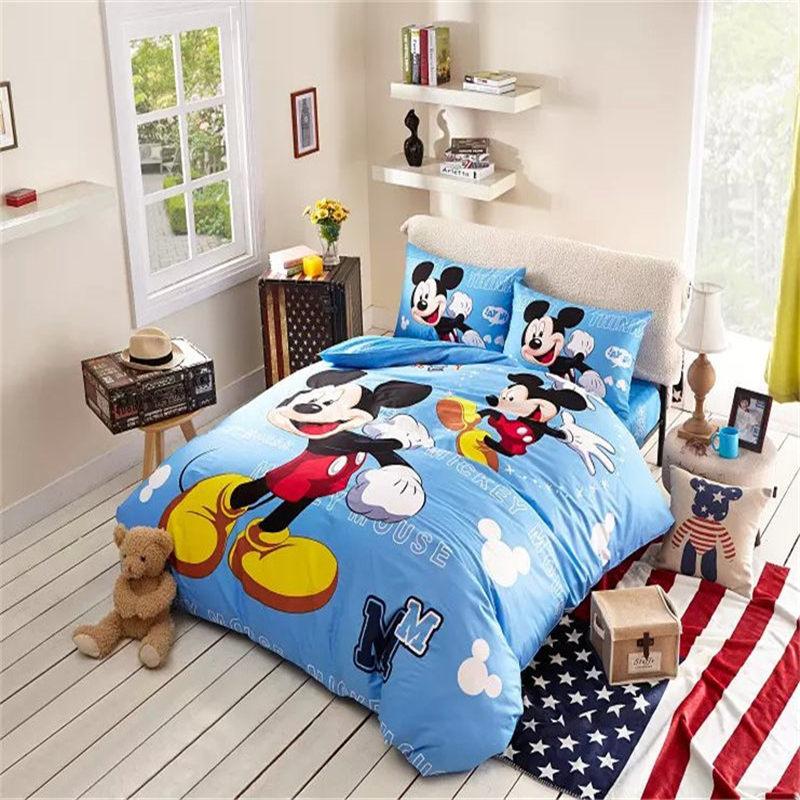 2015 Hot Sky Blue Mickey Mouse Comforter Set Classic Mickey Mouse Bedding Comforter Sets Sale(China (Mainland))