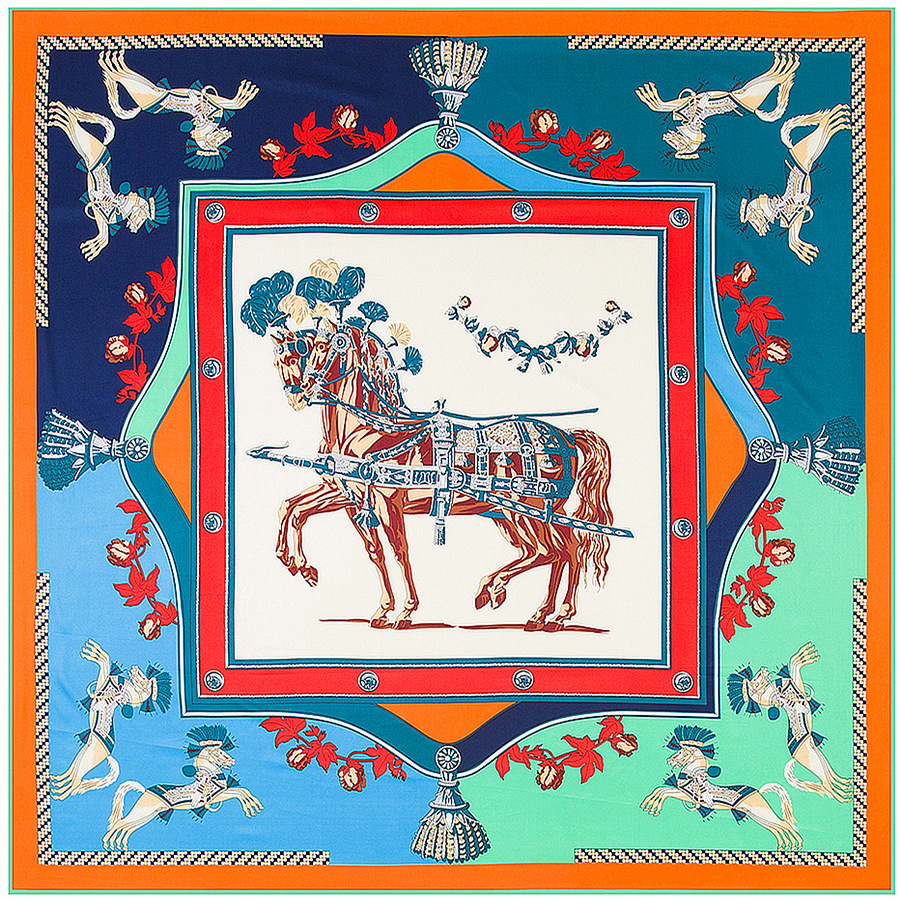 100% Twill Silk Women Scarf 130*130 cm Euro Design French Horses Print Square Scarves High Quality Gift Silk Shawl(China (Mainland))