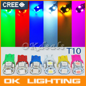 20PCS  T10 194 168 W5W 5SMD 5050 white/blue/red/green/yellow/pink LED Car Styling Wedge Tail Side Light Lamp  6 Color to Choose