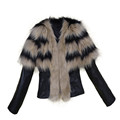 Oversize Winter Women Fashion Warm Faux Fur Collar Coat Elegant Lady PU Leather Fit Jacket Overcoat