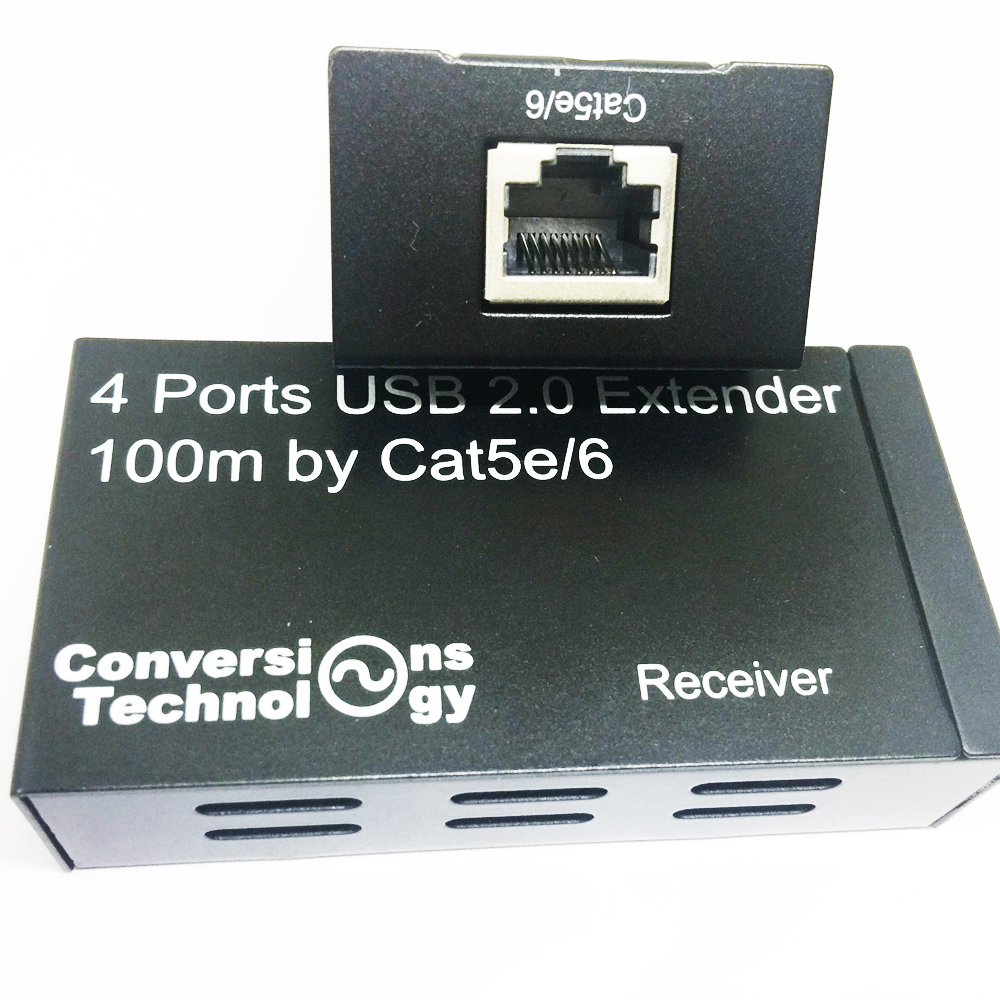 Active 4-port USB 2.0 extender up to 100M by single cat5e/6 cable with power adapter(China (Mainland))