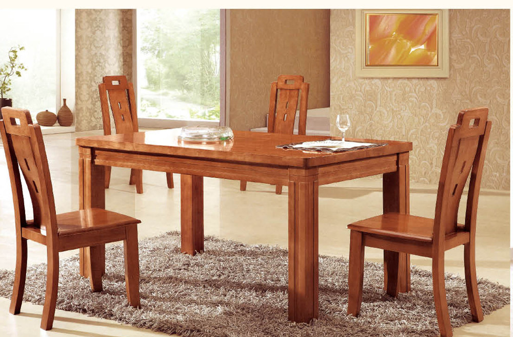 Factory direct oak dining tables and chairs with a turntable table solid wood dining table and Wooden dining table and chairs