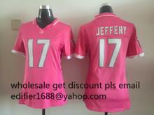 100% stitched WOMEN pink love Chicago Bears ladies 17 Alshon Jeffery 22 Matt Forte Embroidery Logos size S to XXL(China (Mainland))