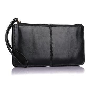 2016 New Designer Fashion Oil Wax Cowhide Women Wallet Genuine Leather Womens Korean Zipper Purse Large Capacity Day Clutch 1366