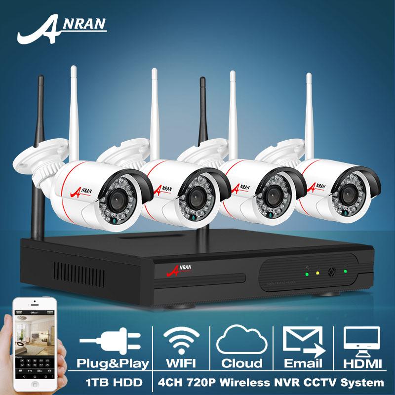 4CH CCTV System Wireless NVR Kit P2P 720P HD Outdoor IR Night Vision H.264 Security IP Camera WIFI Surveillance System 1TB HDD(China (Mainland))
