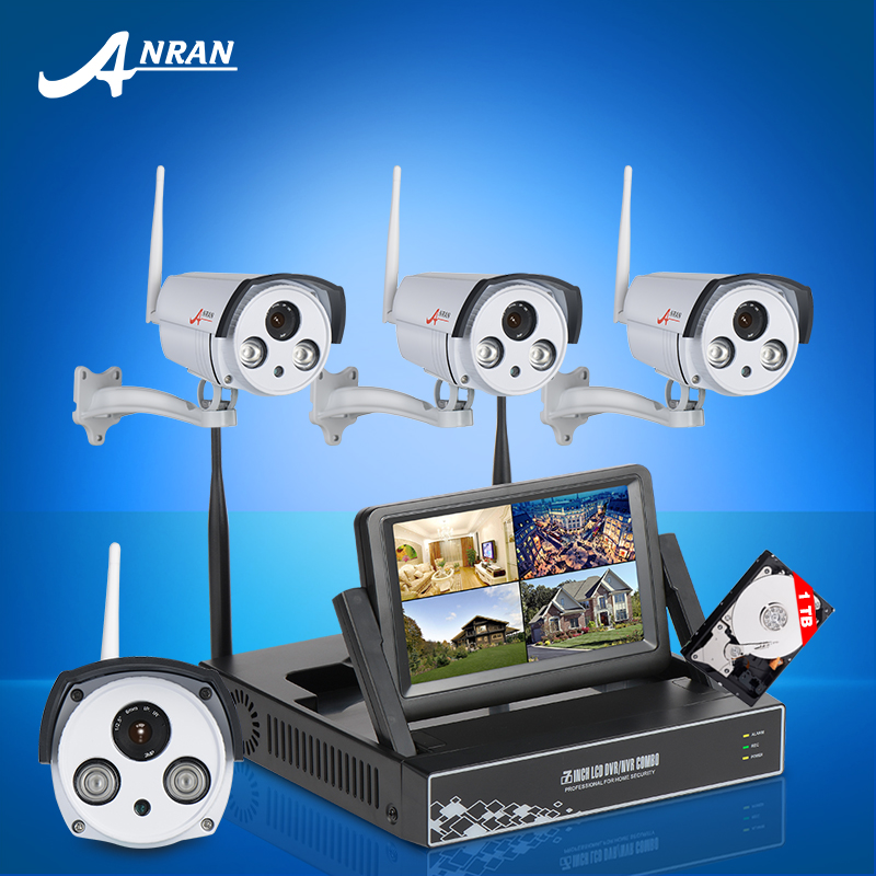 "2016 New Plug and Play 7 "" LCD Screen Wireless NVR Kits H.264 720P IP Camera Wifi IR Night Vision Security CCTV System 1TB HDD(China (Mainland))"