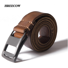 Buy Luxury High Designer Belts Black Coffee genuine leather Double loop Buckle Belts men First layer cowhide Waist belt for $19.20 in AliExpress store