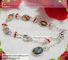 Free ship 6pcs/lot exquisite religious rhinestone rosary bracelet sliver plateing chain bracelet,cute bracelet, icon bracelet(China (Mainland))