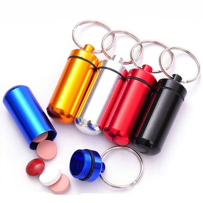 1PC Waterproof Aluminum Pill Box Case Bottle Cache Drug Holder Container Keychain Medicine Box pastilleros metal(China (Mainland))