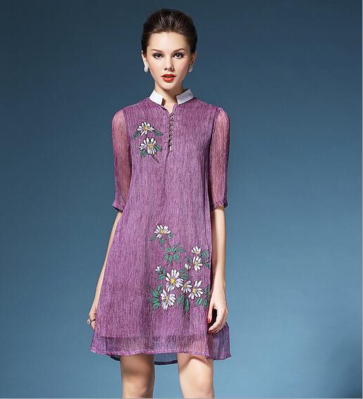 Free shipping 2016 New Women Summer Brand Fashion Elegant Styles Royan straight Casual Dress Lady Girl 2 Color Printing vestidos(China (Mainland))