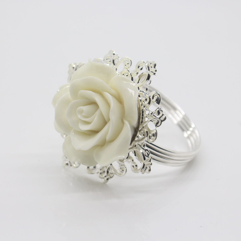 12pcs White Rose Decorative Silver Napkin Ring Serviette Holder for Wedding Party Dinner Table Decoration Accessories