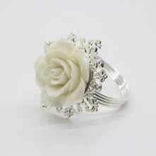 White Rose Silver Napkin Ring Serviette Holder for Dinner Table