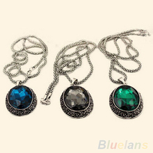 Women's Vintage Carved Alloy Rhinestone Cube Oval Pendant Sweater Long Chain Necklace 1Q8S 4MCG(China (Mainland))
